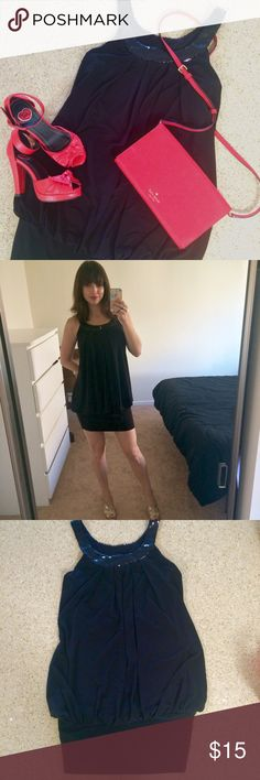 💖Reduced! Sexy little black dress with sequins! Little black minidress with a fun sequined scoop neckline! This dress is loose to the hem, where it gathers into a stretchy band at the upper thigh. It's so surprisingly comfortable and in great condition! Dresses Mini