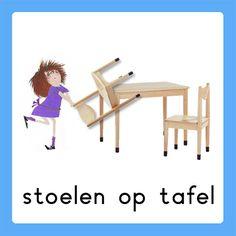 stoelen op tafel Daily Schedule Preschool, Schedule Cards, Busy Boxes, A Classroom, Schmidt, Working With Children, Classroom Management, Diy For Kids, Kindergarten