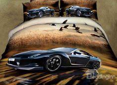 New Arrival Dashing Black Racing Car Print 4 Piece Bedding Sets  @bedding inn