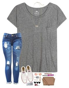"""First Day in Paris!"" by hopemarlee ❤️ liked on Polyvore featuring Velvet, Converse, Ray-Ban, Essie, MICHAEL Michael Kors, Kendra Scott, Bling Jewelry, Kate Spade, Benefit and Urban Decay"