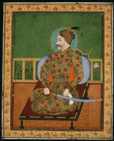 """Portrait of Sultan Abdullah Qutubshah India (Golconda), Mughal, Gouache and gold and silver on paper """" An indolent and ineffectual ruler, this youthful Sultan was compelled to accept Mughal. Mughal Paintings, Islamic Paintings, Indian Paintings, Arabic Characters, History Of India, Medieval Manuscript, Islamic Art, Indian Art, Art And Architecture"""