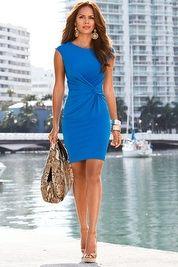 Cap-sleeve knot-front dress