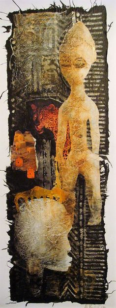Hermine Paulic: African Series 2, mixed media collage on canvas