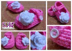 Aquí tenemos lo último que hemos realizado #Escarpines tipo zapatilla para bebé recién nacida. #blanco #rosado