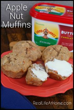 Apple Nut Muffin Recipe - delicious muffins featuring applesauce, carrots, and nuts!