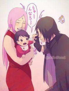Aww Papa Sasuke is glad to see you, Sarada and also Sakura ❤️❤️❤️ Uchiha Family