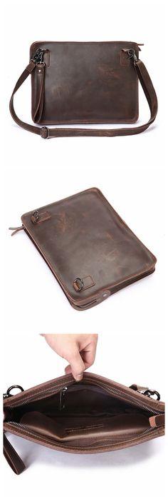 Vintage Handmade Buffalo Leather Satchel, iPad Bag, Tablet Bag/Case, Crossbody Messenger Bag