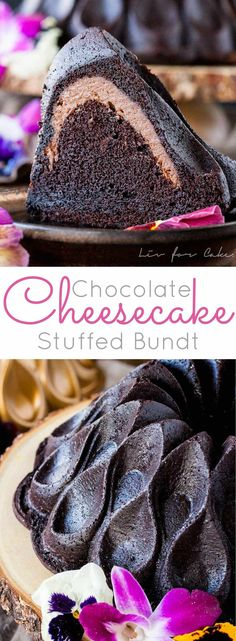 Double the chocolate in this delicious cheesecake stuffed Bundt cake! A rich chocolate cake filled with a decadent chocolate cheesecake. | livforcake.com