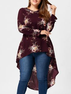 CharMma 2018 New Plus Size Tiny Floral High Low Hem Blouse Crew Neck Casual Full Sleeve Plus Size Long Shirt for Women Blouse Plus Size Blouses, Plus Size Tops, Plus Size Dresses, Plus Size Outfits, Curvy Fashion, Plus Size Fashion, Cheap Fashion, Womens Fashion, Stylish Outfits