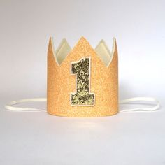 Felt glitter birthday crown, peach gold first birthday crown, first birthday, 1st birthday, smash cake photo prop sparkling crown by UnBonDiaHandmade on Etsy