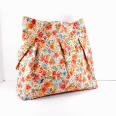 Large Pleated Bag Coral Orange Blue Floral by SewMuchFabric2010, $45.00