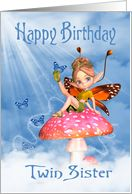 Twin Sister Birthday - Cute Fairy On A Mushroom card