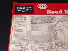 1947 Road Map of New York State Detour Map Local History New Jersey Summer Road Trip Map 1947 Birth
