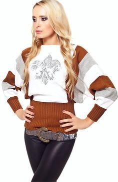 21aa5bf469b257 BROWN-WHITE FRENCH PULLOVER. RebelVisionOnline · WOMEN S SHIRT   SWEATERS