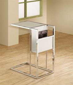 Contemporary Accent Table White & Chrome Snack Table Built-In Magazine Rack NEW Table Cafe, C Table, Living Room Furniture, Modern Furniture, Metal Furniture, Furniture Design, Furniture Ideas, Magazine Table, Magazine Rack