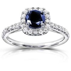 3 4 Ct Tw Blue Shire 14k White Gold Halo Engagement Ring