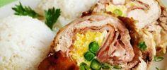 Kuřecí roláda se smaženými vejci a hráškem Baked Potato, Mashed Potatoes, Turkey, Meat, Baking, Ethnic Recipes, Whipped Potatoes, Turkey Country, Smash Potatoes