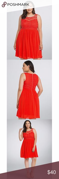 NWT Torrid Red Gauze Crochet Skater Mini Dress 18W Bohemian inspired beauty is new with tags! Featuring intricate crochet detailing over a sweetheart underlay on the figure-flattering empire bodice. Sleeveless. Exposed gold zip back. Breezy gauze skirt. Made from 100% rayon, excluding the lace. Measures 39 inches in total length, falling flirtatiously above the knee on most. Please feel free to ask any questions you may have. :-) torrid Dresses