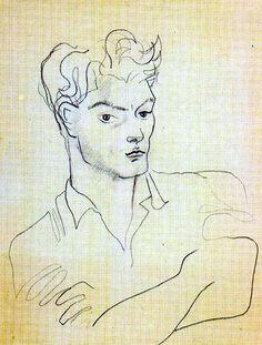 Cocteau, Jean 1937 Jean Marais Love Drawings, Drawing Sketches, Jean Cocteau, Minimalist Drawing, Multimedia Artist, Scratchboard, Bohemian Art, Prince, Art Studies
