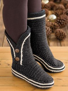 Crochet Slipper Patterns - If you are looking for style and warmth, this is the project for you. Made using 2 colors of Premier Yarns Everyday Soft worsted-weight yarn and a size crochet hook. Finished size: S (M, L). Crochet Slipper Boots, Crochet Slipper Pattern, Crochet Shrug Pattern, Knit Boots, Knitted Slippers, Slipper Socks, Knit Patterns, Free Pattern, Annie's Crochet