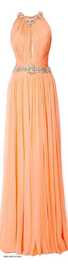 Marchesa Sorbet Sleeveless Pleated Chiffon Gown ♔ Resort 2015