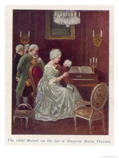Wolfgang Amadeus Mozart as a Child Taken by the Empress Maria Theresia onto Her Imperial Lap Giclee Print by Rudolf Klingsbogl at eu.art.com