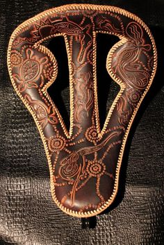 Chancey77 Custom Leather_ Australia Themed Custom Seat Leather Art, Custom Leather, Leather Tooling, Tooled Leather, Motorcycle Seats, Bobber Motorcycle, Motorcycle Garage, Leather Bicycle, Motorcycle Leather