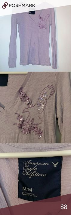 AEO long sleeve tee Cute eagle sequins on chest American Eagle Outfitters Tops
