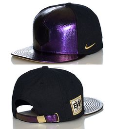 NIKE Black History Month edition Shiny purple-black color fade detail Metallic purple brim with geometric shapes Adjustable back strap for comfort