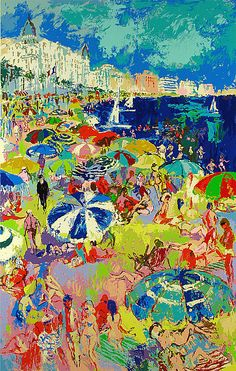 LeRoy Neiman, Beach at Cannes, Serigraph on Paper, Limited Edition