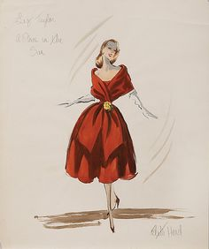 "hand drawn Edith Head costume sketch in pencil & gouache labeled in handwritten pencil, ""Liz Taylor A Place In The Sun"" & signed ""Edith Head"" - features Elizabeth Taylor's character ""Angela Vickers"" in a chocolate brown, bare shouldered, stole dress w/ yellow flower at waist & white gloves. Head won the 1952 Academy Award for Best Costume Design for her work on this film (Paramount, 1951)"