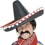 Mexican moustache. Great for any Mexican Party or Spanish fancy dress costume or celebration. Every Mexican bandit needs a big black droopy Mexican moustache. We also sell ponchos and Mexican sombreros.
