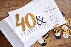 40th Birthday Invitations and Envelopes for by ConfettiMommaParty