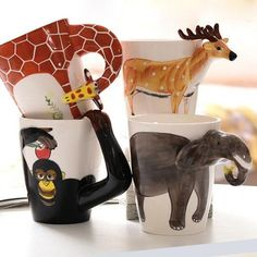 3D Painted Ceramic Animal Coffee Mug. Available in 4 designs! #osarastore