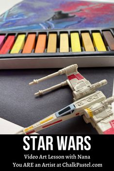 Enjoy Nana's How to Draw Star Wars in Chalk Pastels video art lesson! A fun sample from Chalk Pastels at the Movies Black Construction Paper, Pastel Watercolor, Chalk Pastels, Illuminated Letters, Watercolor Techniques, Linocut Prints, Time Art, Star Wars Art, Art Tutorials