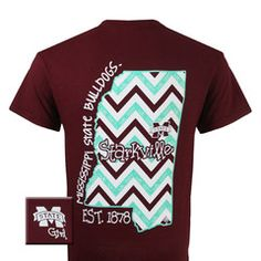 MSU Mississippi State Bulldogs State Chevron Girlie Bright T Shirt   SimplyCuteTees