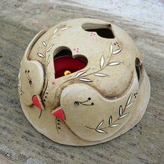 Ceramic Pottery, Ceramic Art, Clay Birds, Lantern Candle Holders, Clay Animals, Tea Light Holder, Bird Art, Tea Lights, Decoupage