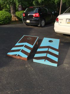 Our boards are painted and ready for Memorial Day weekend Diy Yard Games, Backyard Games, Backyard Projects, Fun Projects, Wood Projects, Diy Cornhole Boards, Cornhole Set, Upcycled Crafts, Diy And Crafts