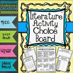 Literature Activity Choice Board: Grades by Chalkboard Creations Comprehension Activities, Reading Activities, Teaching Reading, Reading Comprehension, Learning, Reading Skills, 5th Grade Classroom, Classroom Fun, Choice Boards
