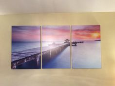 "Amazon.com: Beautiful Wall Decor Photo Art - Lake with Wooden Bridge Pier under Sunset 20""x30"" x 3 Panels | Large Size Canvas Print: Posters & Prints"