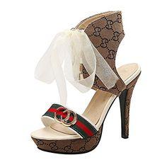 Azbro Women's Peep Toe Lace up Stiletto Heels Pattern Sandals, Yellow EURO35/US4/UK2 - Sandalen für frauen (*Partner-Link)