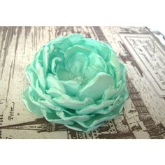 Mint green fabric flower, flower for sash, bridal hair clip,... ($24) ❤ liked on Polyvore