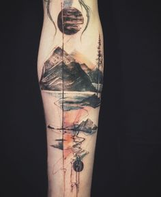 Abstract mountain/nature tattoo by @tattooer_nadi on Instagram