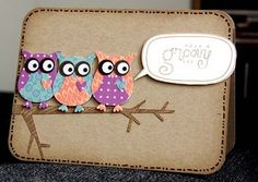 handmade card ... three brightly colored punched owls sitting on a branch ... looking sideways ... tooo cute!! ... Stampin' Up!!