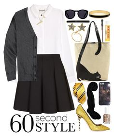 """Last Minute Hufflepuff Costume"" by orange-seltzer ❤ liked on Polyvore featuring H&M, Topshop, 21 Men, J.Crew, NOVICA, Ornamental Things, Halcyon Days, France Luxe, Le Specs and Essie"
