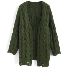Chicwish Comfy Day Diary Cable Knit Cardigan in Army Green (3.510 RUB) ❤ liked on Polyvore featuring tops, cardigans, outerwear, green, green cardigan, green top, olive green cardigan, chunky cable knit cardigan and army green top