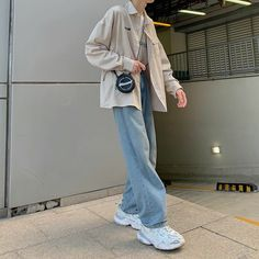 Blue Jean Outfits, Edgy Outfits, Winter Fashion Outfits, Korean Outfits, Cute Casual Outfits, Korean Girl Fashion, Korean Street Fashion, Aesthetic Fashion, Aesthetic Clothes