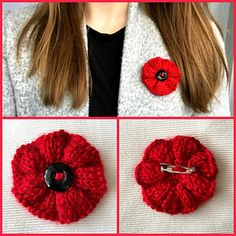 This poppy pattern is a blend of a few different patterns used for the Great Lakes 5000 Poppies Project. While knitting your own re-usable poppy can be both meaningful and sustainable it is important Knitted Poppy Free Pattern, Knitted Flower Pattern, Poppy Pattern, Knitting Patterns Free, Free Knitting, Baby Knitting, Crochet Patterns, Knitted Poppies, Knitted Flowers
