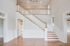 Entry way / Foyer - Custom home by Farinelli Construction, Character Grade White Oak Floors White Staircase, Wood Staircase, Staircase Design, Staircases, Maple Floors, White Oak Floors, Oak Stairs, House Stairs, Staining Hardwood Floors