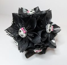 Small Kusudama Flower Ball Ornament  Cute Skull by FoldsOfLove, $20.00